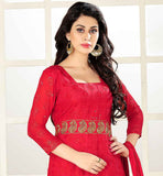 RAVISHING RED STRAIGHT CUT SUIT WITH MATCHING BOTTOM AND NAZNEEN DUPATTA FLORAL THREAD WORK IS DONE ALL OVER THE DRESS WITH DASH OF ZARI AND TIKI WORK TO INCREASE THE LOOK