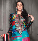 AWESOME ABSTRACT PRINT WORK RICH NECK DESIGN SALWAR SUIT