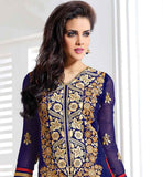 AWESOME BLUE PARTY WEAR KARACHI STYLE DRESS WITH DUPATTA