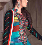 BLUE PRINTED GEORGETTE PARTY WEAR SALWAR KAMEEZ WITH BLACK DUPATTA RTANA4006