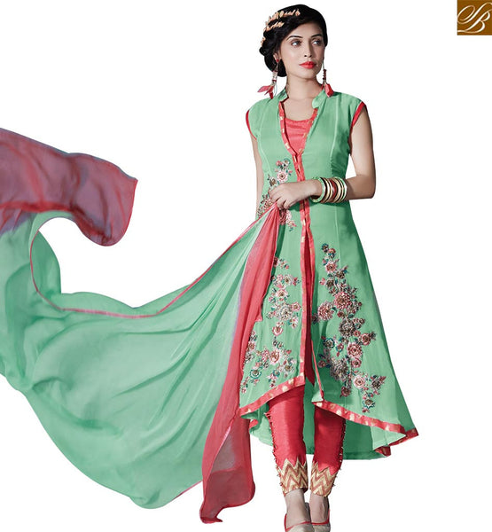STYLISH BAZAAR ENCHANTING GREEN COLORED DESIGNER SUIT WITH FLORAL WORK RTZN4006