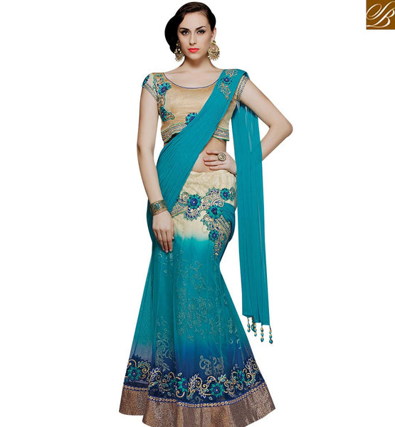 STYLISH BAZAAR EYE CATCHING LIGHT BLUE SHADED HAVING GOTA LACE BORDER DESIGNER SAREE MHMM4006