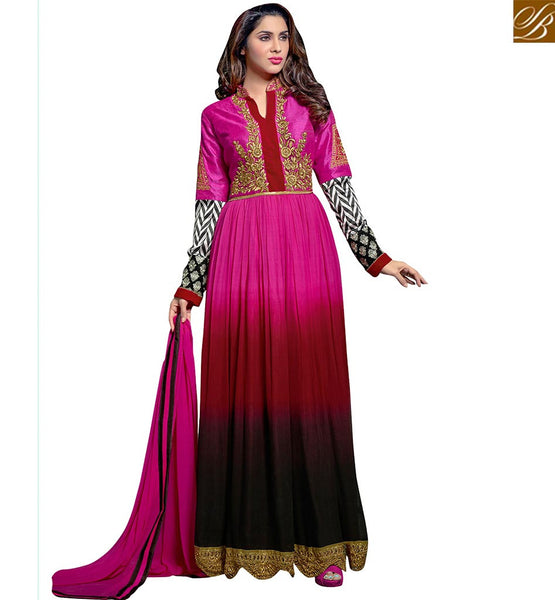 CHARMING MULTISHADED PINK SALWAR SUIT DESIGN VDRNA4006 BY PINK MAROON & BLACK