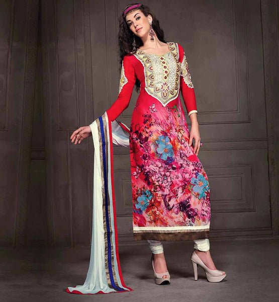 EVER STYLISH DESIGNER DRESSES 2015 KAMEEZ PATTERN PRINTED GEORGETTE