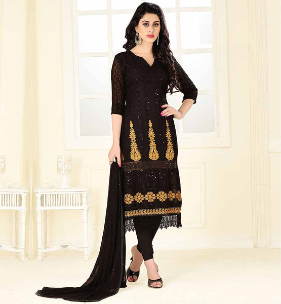 EVER STYLISH PUNJABI SALWAR SUIT DUPATTA DESIGNS STUNNING BLACK SOFT LAWN COTTON DRESS WITH EMBROIDERY AND TIKI WORK
