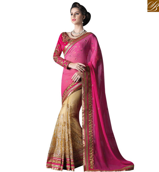 STYLISH BAZAAR MAGNIFICENT BEIGE AND PINK GEORGETTE DESIGNER SAREE ATTIRE WITH PINK COLOR PALLU HAVING EMBROIDERED BLOUSE GLZR4007
