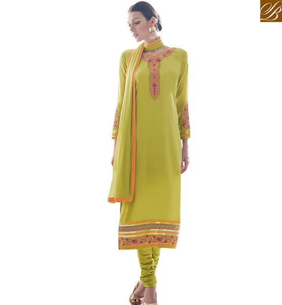 STYLISH BAZAAR TEMPTING GREEN COLORED CASUAL WEAR SALWAR SUIT SLAY4007