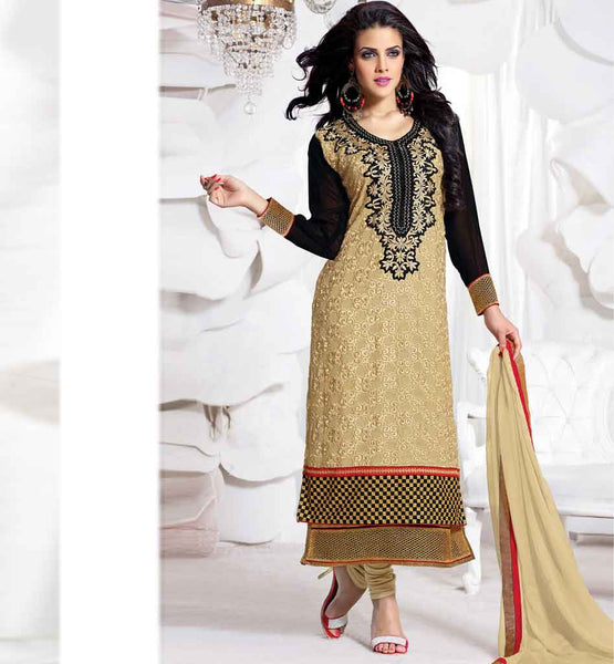 BOLLYWOOD DIVA STYLE BEIGE PARTY WEAR SALWAR KAMEEZ WITH DUPATTA