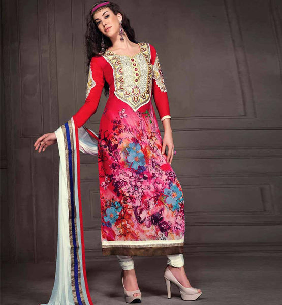 SHOP ONLINE RED PRINTED GEORGETTE PARTY WEAR SALWAR KAMEEZ WITH CHIFFON DUPATTA RTANA4007