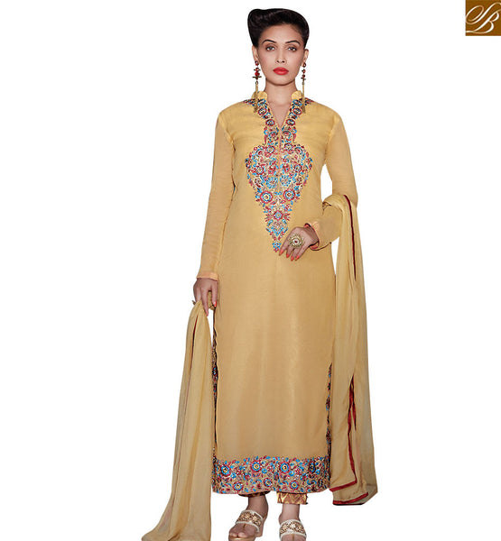 STYLISH BAZAAR FABULOUS BEIGE COLORED SUIT WITH ATTRACTIVE EMBROIDERY WORK RTZN4007