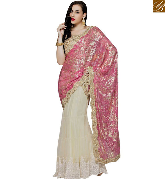 STYLISH BAZAAR CREAM AND PINK LYCRA NET DESIGNER SAREE WITH THREAD AND BEAD EMBROIDERY WORK MHMM4007