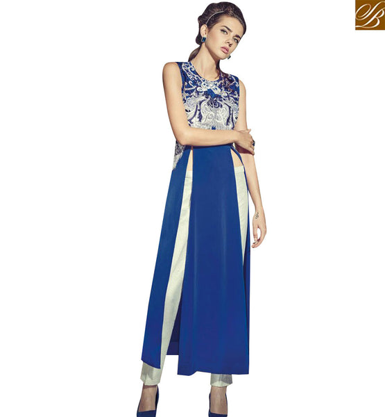 STYLISH BAZAAR DELIGHTFUL BLUE GEORGETTE EMBROIDERED WORK DESIGNER SLIT CUT SALWAR KAMEEZ SUIT JNROS4007