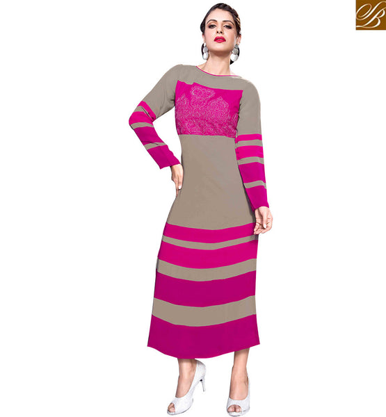 STYLISH BAZAAR CHARMING GREY AND PINK COLORED DESIGNER KURTI RTBM4007