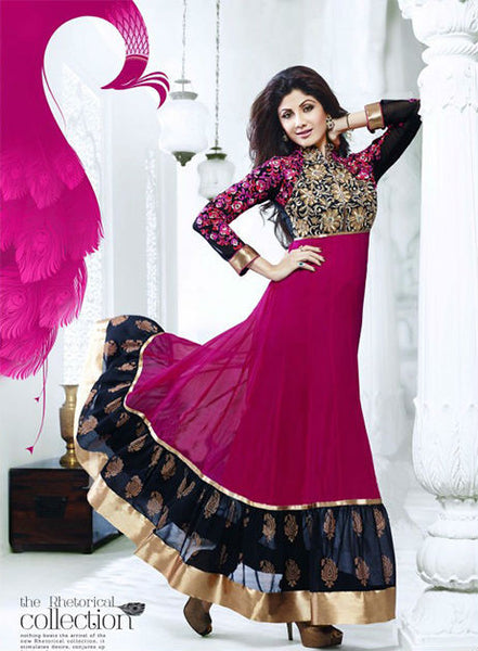 Designer Indian Bollywood Shilpa shetty Pink And Black Long Length Georgette Anarkali Suits 1390