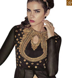 A STYLISH BAZAAR PRESENTATION SPLENDID BLACK GEORGETTE HEAVY EMBROIDERED WORK SUIT WITH SLIT CUT STYLE SALWAR KAMEEZ JNROS4008