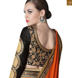 PLEASING GREY AND BLACK SHADED DESIGNER SAREE ATTIRE WITH ORANGE SILK PALLU HAVING LACE BORDER WORK GLZR4008