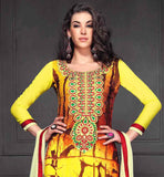 LIVELY YELLOW GEORGETTE DRESS WITH PRINT WORK AND EMBROIDERY