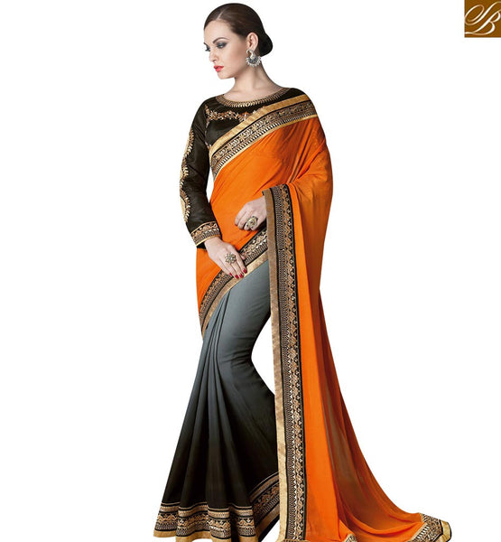 STYLISH BAZAAR PLEASING GREY AND BLACK SHADED DESIGNER SAREE ATTIRE WITH ORANGE SILK PALLU HAVING LACE BORDER WORK GLZR4008