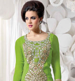 GLAMOROUS GREEN GEORGETTE PARTY WEAR SALWAR KAMEEZ WITH CONTRAST BLUE ODHNI