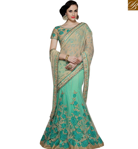 STYLISH BAZAAR PLEASING SEA GREEN NET CHIFFON HAVING FLOWERY EMBROIDERY WITH LEHENGA STYLE MHMM4008