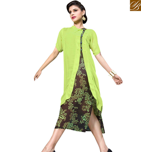 STYLISH BAZAAR ENTHRALLING GREEN AND BROWN COLORED DESIGNER KURTI RTBM4008