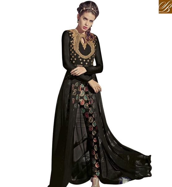 STYLISH BAZAAR SPLENDID BLACK GEORGETTE HEAVY EMBROIDERED WORK SUIT WITH SLIT CUT STYLE SALWAR KAMEEZ JNROS4008