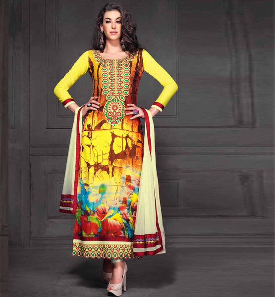 YELLOW PRINTED GEORGETTE PARTY WEAR SALWAR KAMEEZ WITH CREAM DUPATTA RTANA4008 STYLISHBAZAAR