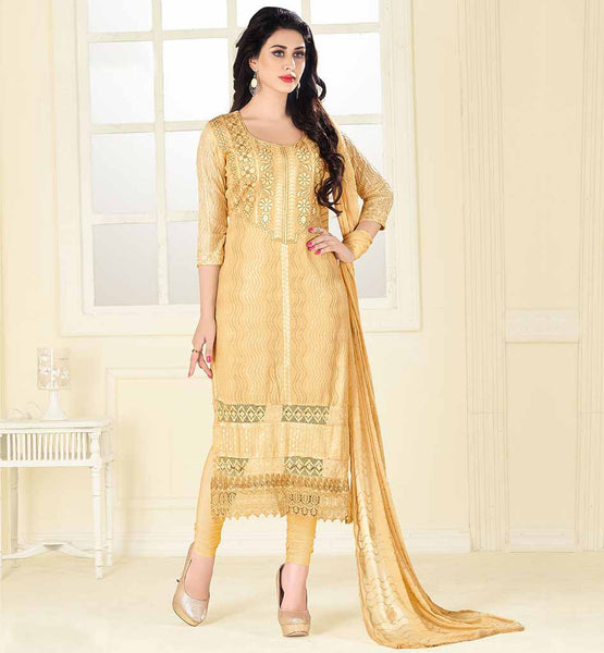 SOFT LAWN COTTON KAMEEZ TIGHT CHURIDAR SALWAR BEIGE COLOR SOFT LAWN FABRIC STRAIGHT CUT SUIT WITH MATCHING BOTTOM & NAJNEEN FABRIC DUPATTA