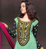 DESIGNER GREEN SALWAR SUIT WITH FLORAL PRINT AND EMBROIDERY