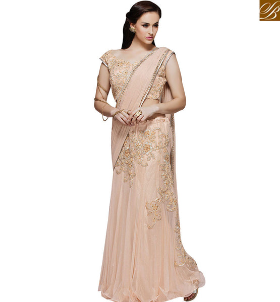 STYLISH BAZAAR WONDERFUL PEACH LYCRA NET DESIGNER LEHENGA SAREE HAS BEAUTIFUL COMBINATION MHMM4009