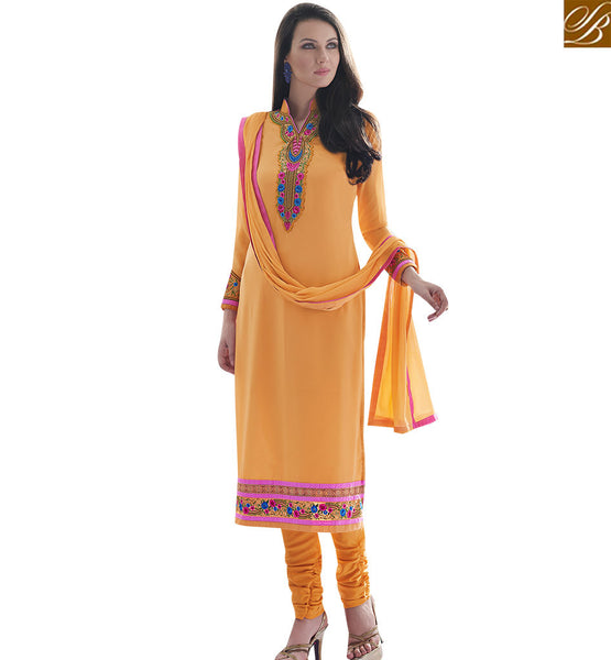 STYLISH BAZAAR ATTRACTIVE YELLOW COLORED FESTIVAL WEAR DESIGNER SUIT SLAY4009