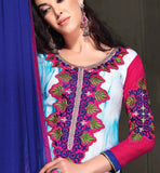SHOP ONLINE MULTICOLOR GEORGETTE PARTY WEAR SALWAR KAMEEZ WITH CHIFFON DUPATTA RTANA4010 STYLISHBAZAAR