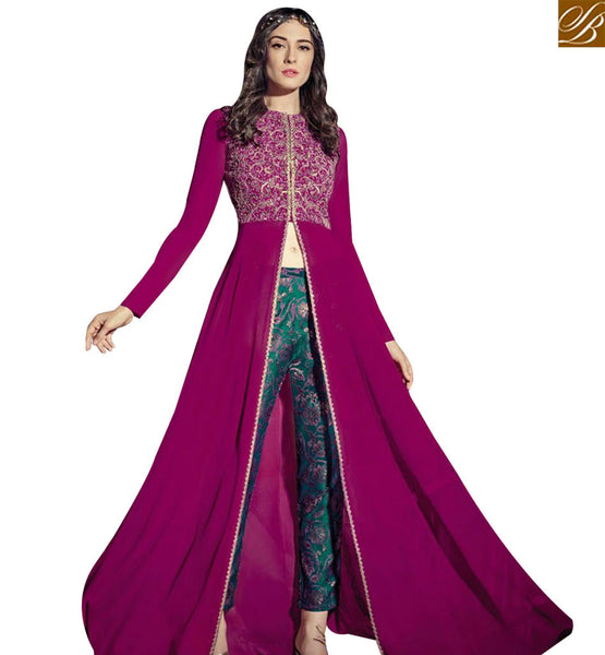 STYLISH BAZAAR ELEGANT PURPLE COLORED GEORGETTE DISPLAYING SLIT CUT STYLE SALWAR KAMEEZ JNROS4010