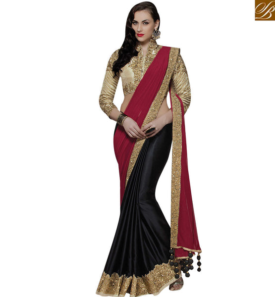 STYLISH BAZAAR APPRECIATING BLACK AND MAROON SILK GEORGETTE SAREE WITH EMBROIDERED JACKET STYLE BLOUSE MHMM4010