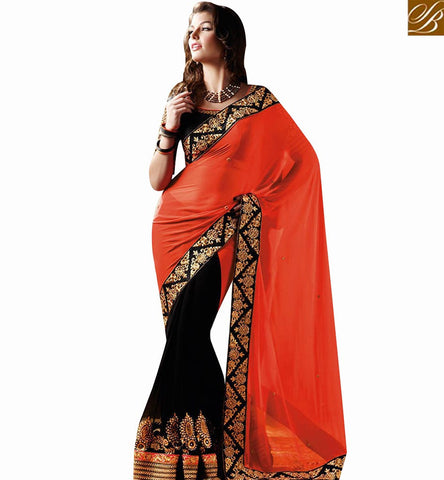 STYLISH BAZAAR BLACK AND ORANGE GEORGETTE HALF AND HALF DESIGNER SAREE WITH HAEVY BORDER WORK NKEVR4010A