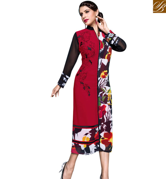 STYLISH BAZAAR DAZZLING MAROON AND BLACK COLORED DIGITAL PRINTED KURTI RTBM4010
