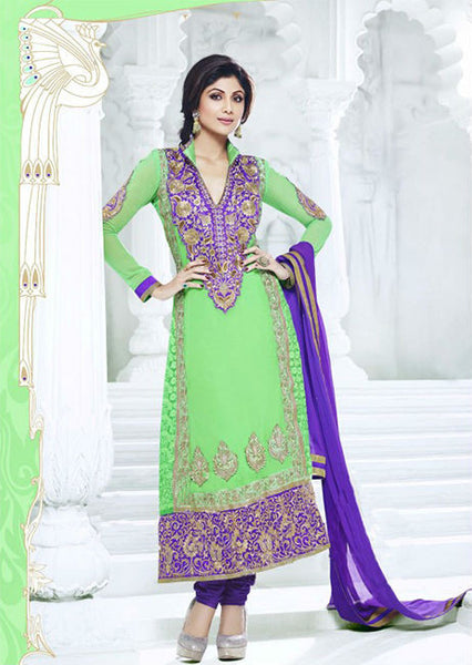 Designer Indian Bollywood Shilpa shetty Parrot And Purple Long Length Georgette Anarkali Suits 1393