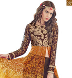 FROM THE HOUSE OF STYLISH BAZAAR WONDERFUL BROWN AND YELLOW COLORED GEORGETTE DESIGNER SLIT CUT ANARKALI STYLE SUIT JNROS4011