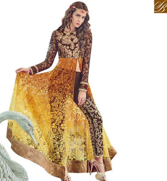 STYLISH BAZAAR WONDERFUL BROWN AND YELLOW COLORED GEORGETTE DESIGNER SLIT CUT ANARKALI STYLE SUIT JNROS4011