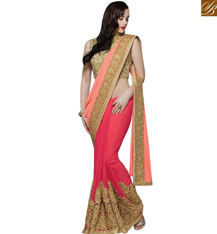 STYLISH BAZAAR AMAZING PEACH AND RED BEMBERG GEORGETTE HAVING GOLD EMBROIDERY WORK WITH BLOUSE MHMM4011