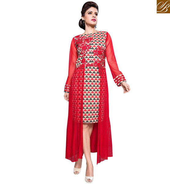 STYLISH BAZAAR OUTSTANDING RED COLORED KURTI WITH BEAUTIFUL HAND WORK DESIGN RTBM4011