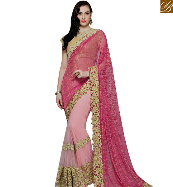 STYLISH BAZAAR RED AND PINK NET LYCRA DESIGNER SAREE WITH GOLD EMBROIDERY WORK MHMM4012