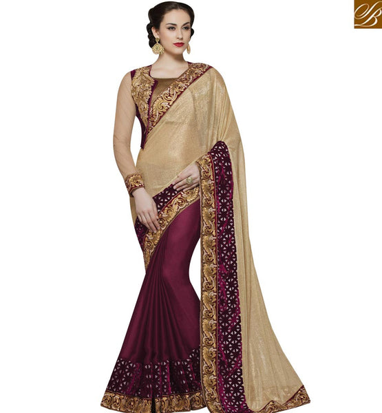STYLISH BAZAAR DELIGHTFUL WINE AND BEIGE SILK GEORGETTE PARTY WEAR DESIGNER SAREE MHMM4013