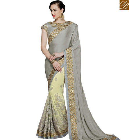 STYLISH BAZAAR ELEGANT GREY AND PISTA GREEN DESIGNER SAREE HAVING PLEASANT EMBROIDERY MHMM4014