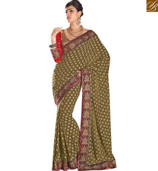 SPECTACULARLY GOOD LOOKING PARTY WEAR SAREE RTHTS4014  BY MEHENDI GREEN