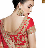 A STYLISH BAZAAR PRESENTATION CREAM AND RED NET GEORGETTE DESIGNER SAREE HAVING EMBROIDERED LACE BORDER WORK MHMM4015