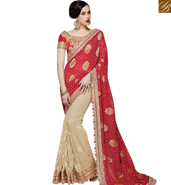STYLISH BAZAAR CREAM AND RED NET GEORGETTE DESIGNER SAREE HAVING EMBROIDERED LACE BORDER WORK MHMM4015