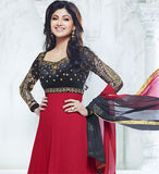 Designer Indian Bollywood Shilpa shetty Red And Black Long Length Georgette Anarkali Suits 1398
