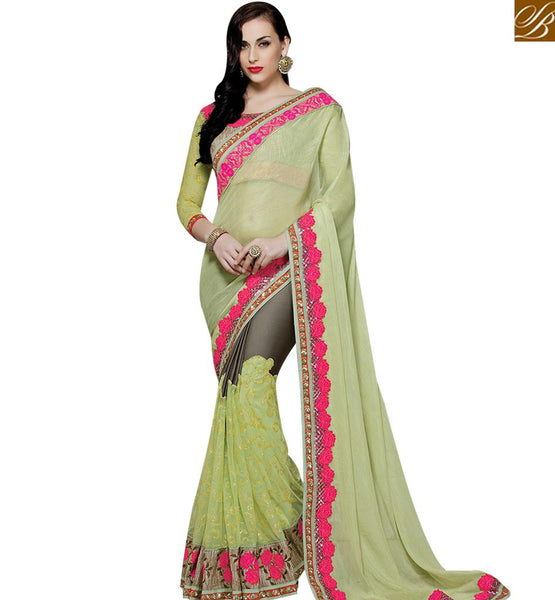 STYLISH BAZAAR BEWITCHING PISTA GREEN NET GEORGETTE DESIGNER SAREE WITH MODERN STYLE MHMM4016