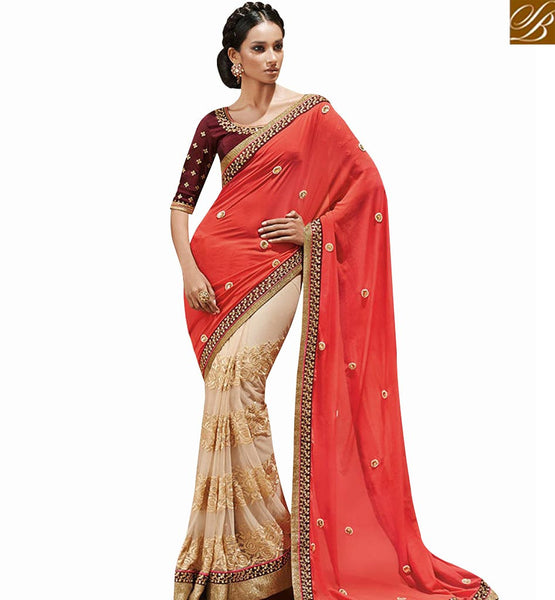 STYLISH BAZAAR MAGNIFICENT CREAM AND PINK DESIGNER HALF N HALF SAREE WITH MAROON DHUPION BLOUSE NKEVR4017B